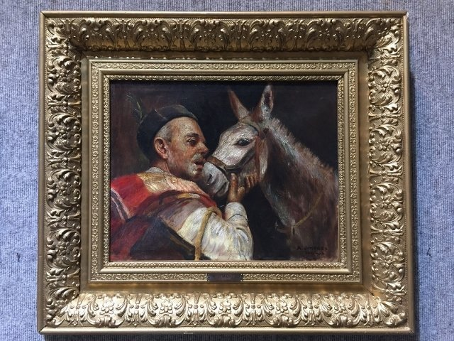 "Painting of mule and Spaniard by ""A.Jimenez"" c.1900"