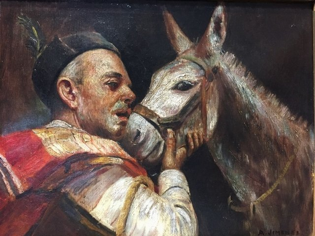 "Painting of mule and Spaniard by ""A.Jimenez"" c.1900 - 2"