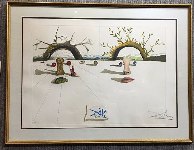 """Patient Lovers"" Dali lithograph, pencil signed, 1970"