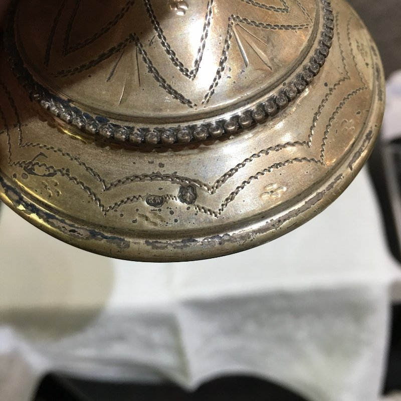 Austrian silver cup with Hebrew writing,4.6 t.oz. - 2