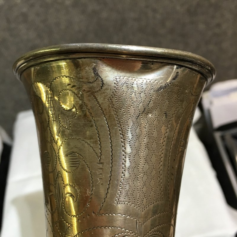 Austrian silver cup with Hebrew writing,4.6 t.oz. - 5