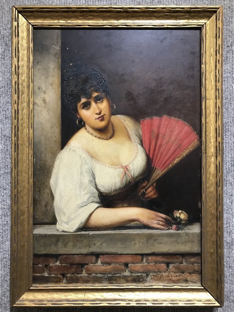 Painting of girl with fan by Wilhelm A.Beer, c.1880