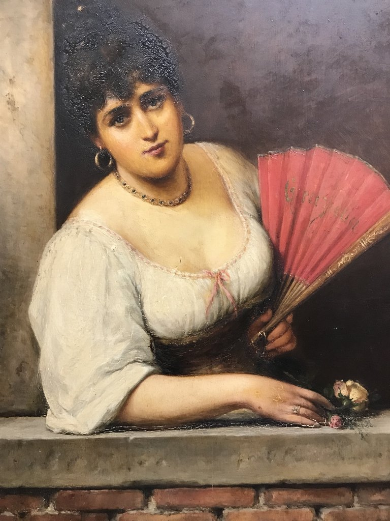 Painting of girl with fan by Wilhelm A.Beer, c.1880 - 2