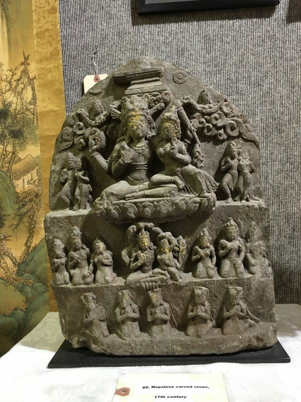 Nepalese carved stele, 17th century
