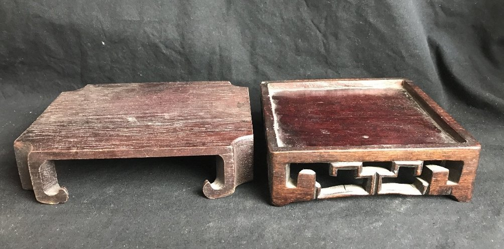 Box lot-Chinese wood stands - 2