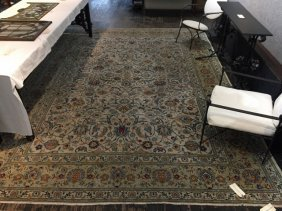 "Room sized Kashan rug, 108""x 154"""