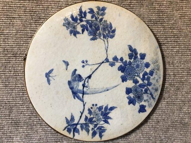 Japanese porc circular plaque, c.1900