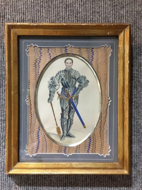 Pair of knight prints, French mats, c.1880-1920.