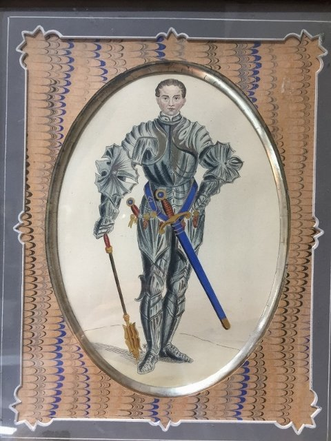 Pair of knight prints, French mats, c.1880-1920. - 2