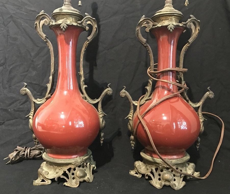 Pair of red ceramic vase lamps, c.1880