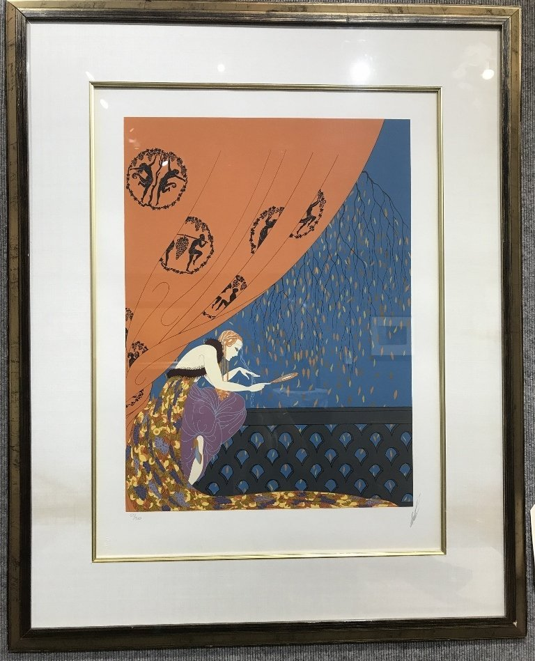 Signed Erte serigraph, woman behind curtain, c.1970