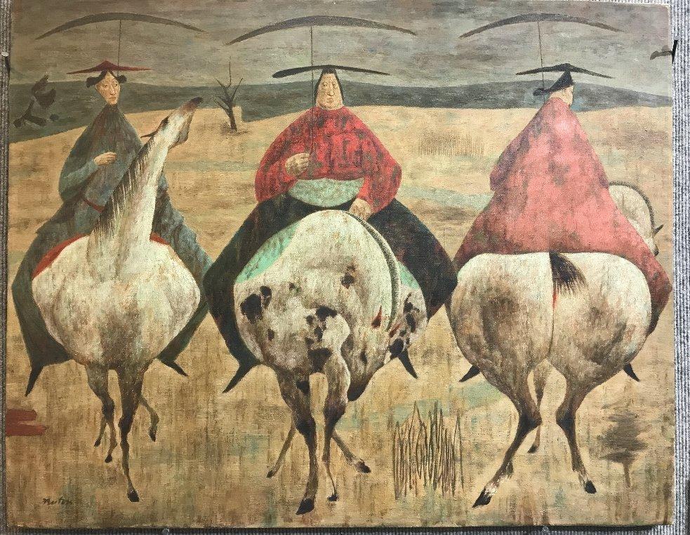 Ptg of horsemen by John Fenton, c.1960