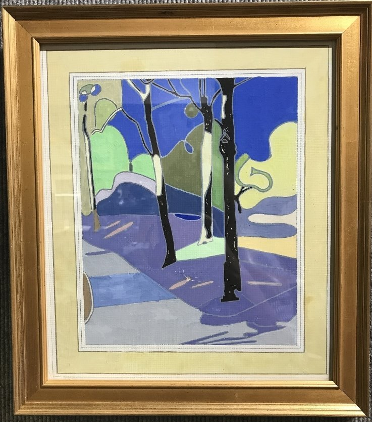 Color gouache of trees, c.1920.Unsigned.