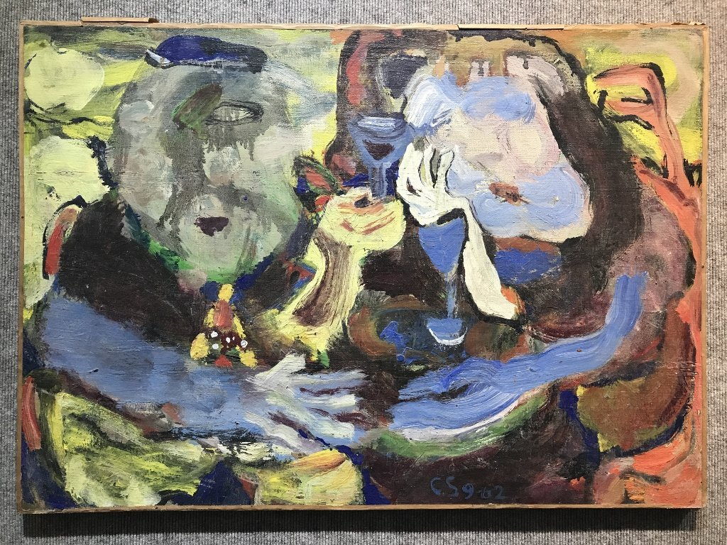 """Abstract painting, signed """"CS '62""""."""