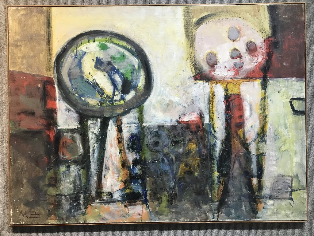 """Abstract painting signed: """"M.B."""", c.1970"""