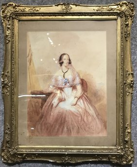 "Watercolor drawing, woman, signed ""H.B.Ziesler, 1850"""