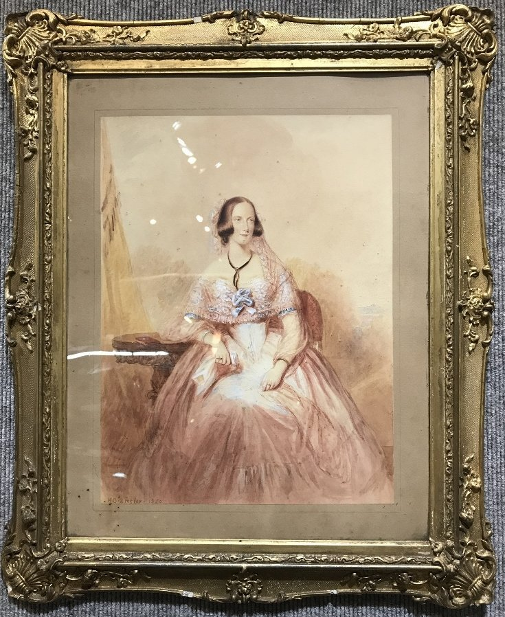 """Watercolor drawing, woman, signed """"H.B.Ziesler, 1850"""""""