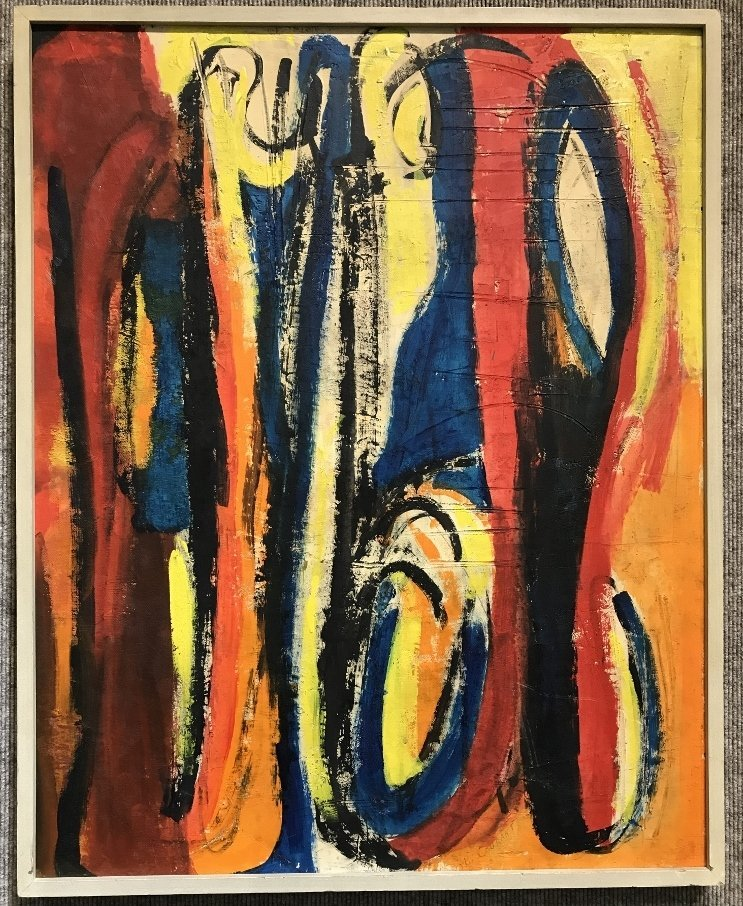 """Abstract painting signed """"B.Courant"""", c.1970."""