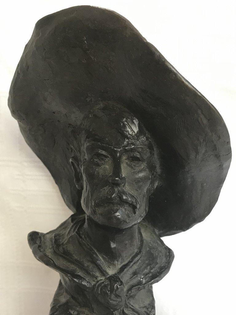 Remington bronze bust of a cowboy