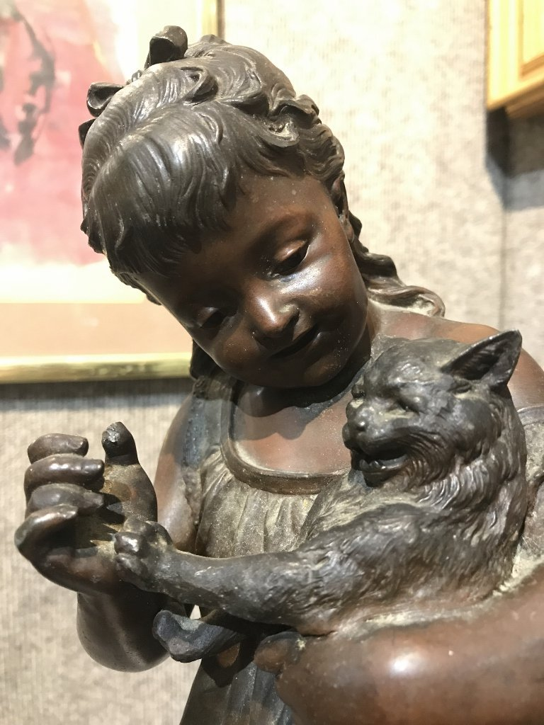 """Spelter """"Girl and Cat"""" by Eutrope Bouret"""