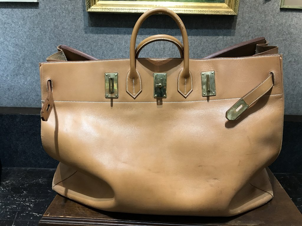 "Large leather ""Vache Naturelle""Hermes Bag"