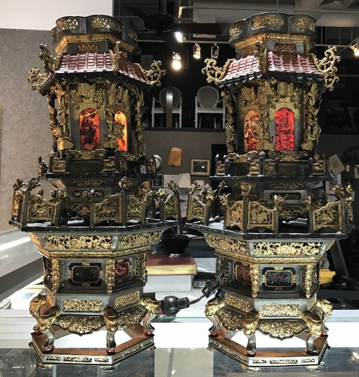 Pair of gilt metal pewter Chinese lanterns, c.1900