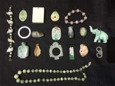 Box lot-18 pieces of jade