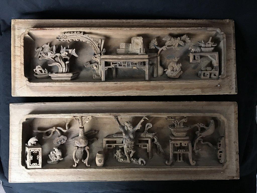 Pair of unusual Chinese wood carvings, c.1900.