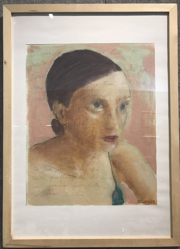 Gouache on paper of woman by Elisa Begani, 2003