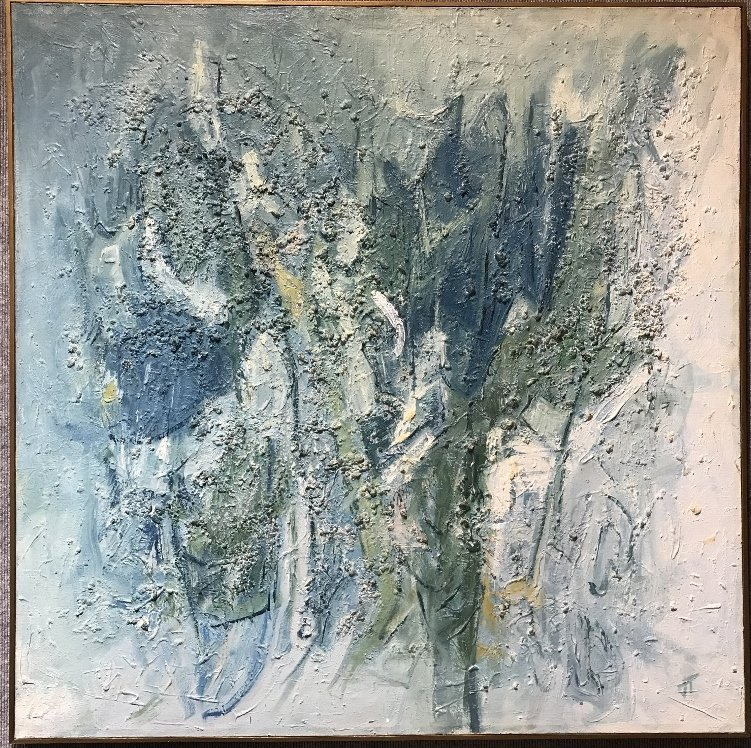 Abstract ptg, sgd w/ Hong Kong stretcher label-Chinese?