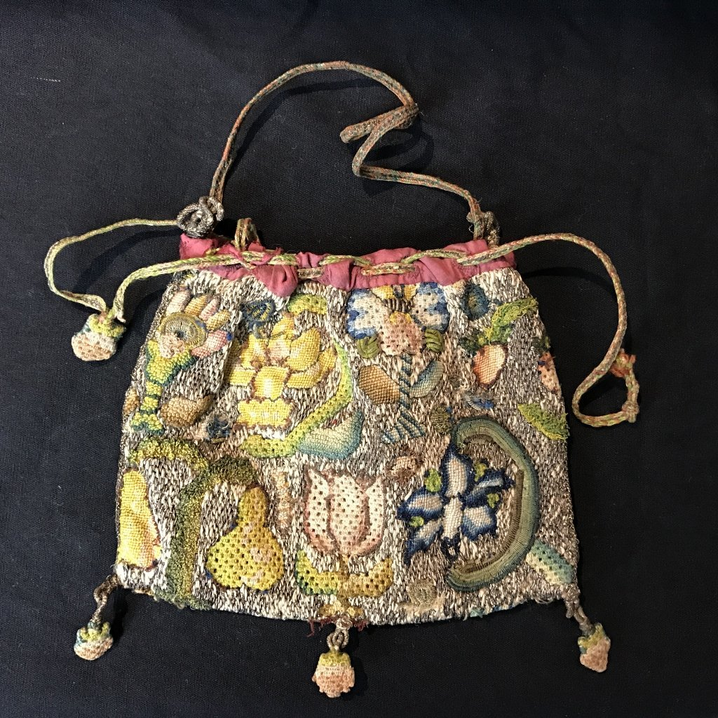 17th cent embroidered purse