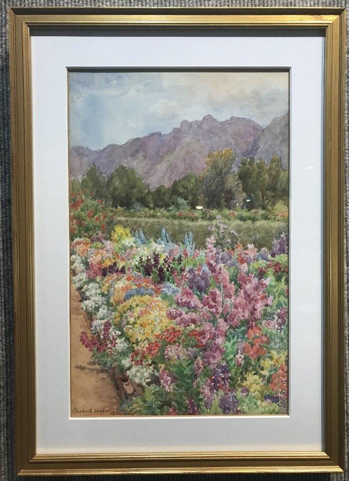 Watercolor of garden by Elizabeth Drake, 1930.