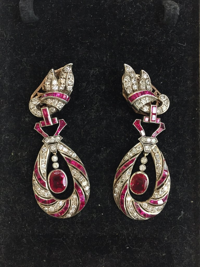Large diamond, ruby, silver & gold earrings, c.1940