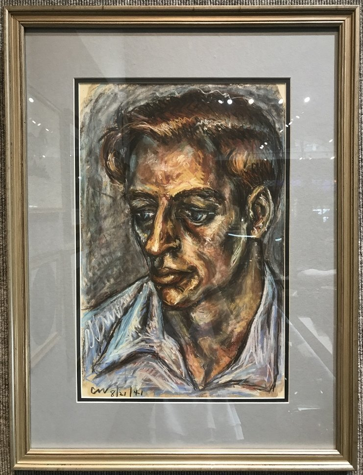 """Watercolor draw.of a man, signed """"CW '41"""""""
