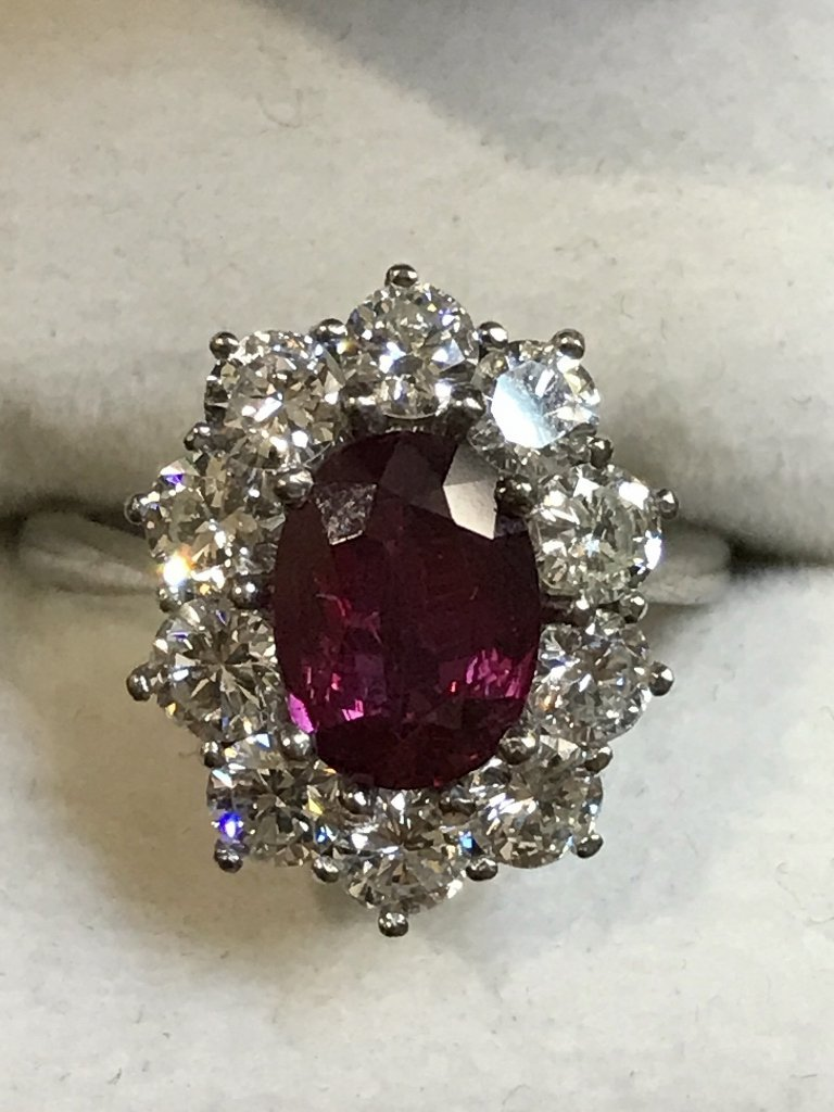 18k natural ruby and diamond ring-GIA report, 4.1dwts