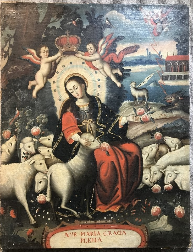 18th/19th cen Cuzco school painting, Maria with sheep