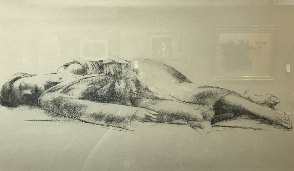 Pencil drawing of woman lying down by Leon Kroll