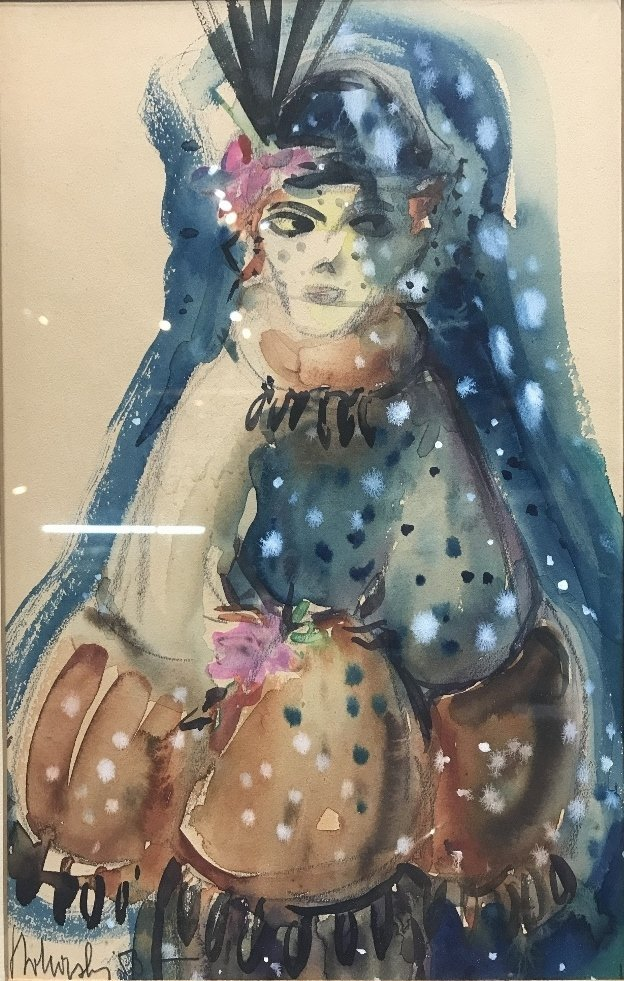 "Watercolor of a woman signed:""Twhorshy""(?)"