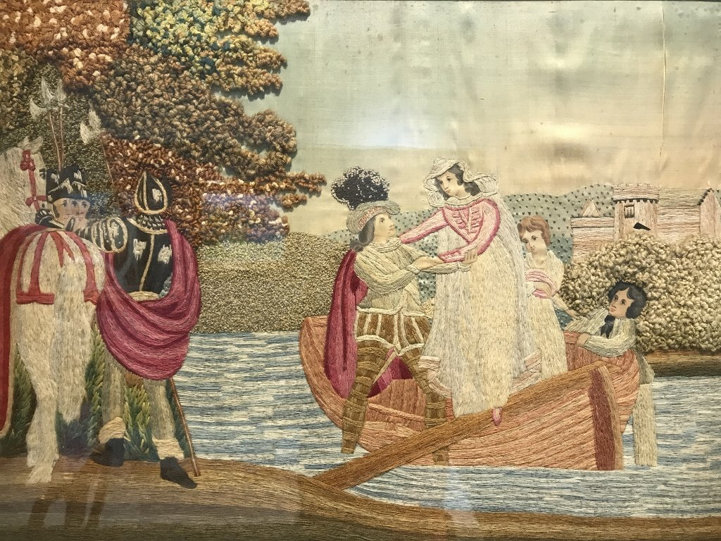 Silk embroidery of boat riders, c.1860