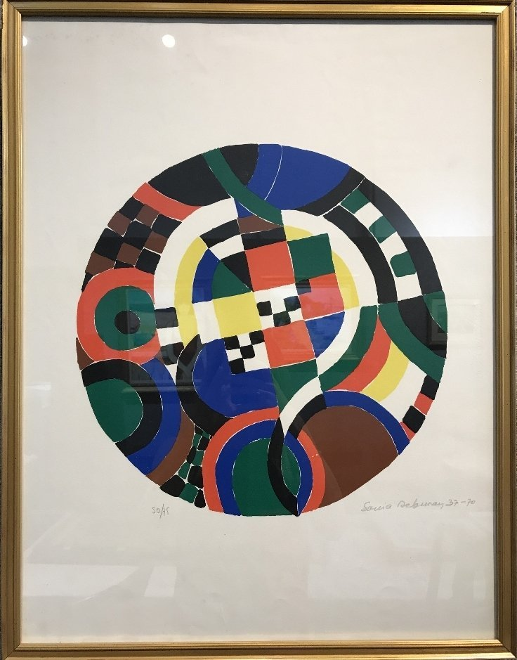 Abstract color lithograph by Sonia Delaunay
