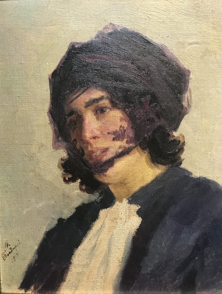 Painting of a young person by I. Bondarev, 1915