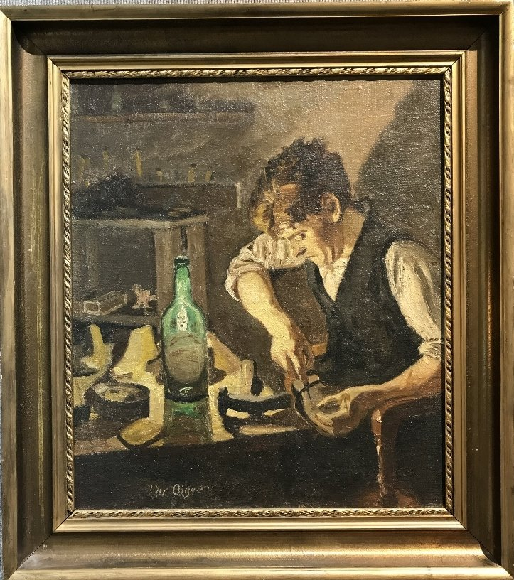 Painting of cobbler, Christian Aigens, 1870-1940