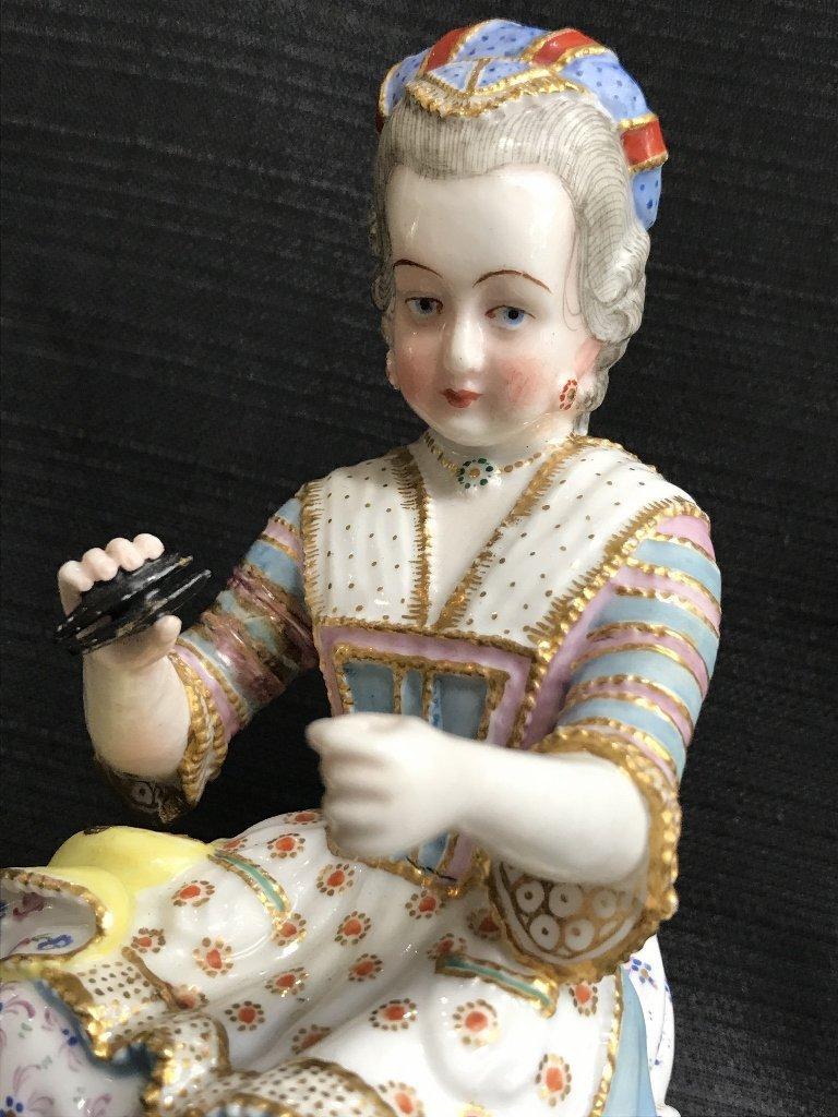 Rare porcelain figurine of  lady by Jacob Petit, c.1860