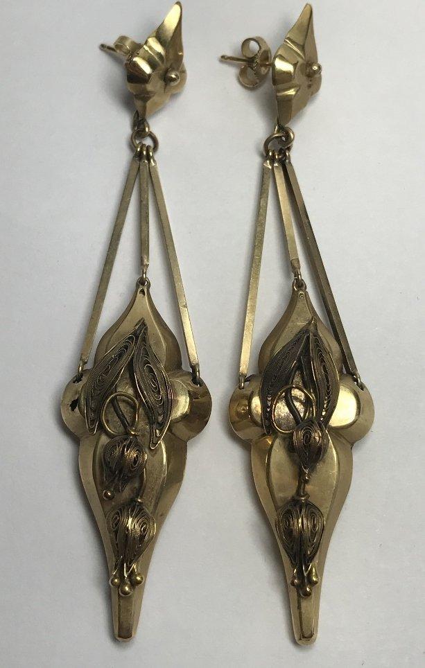 14k Victorian long earrings, 8.9 dwts.c.1880.