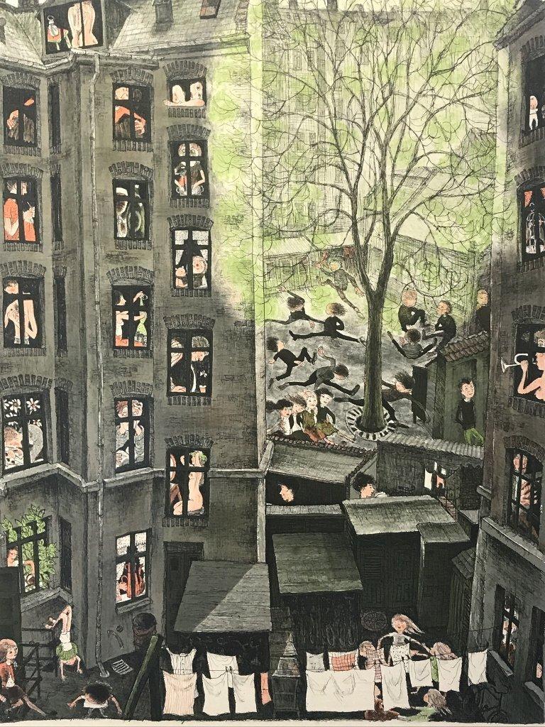 Large print of apt buildings by lb Spang Olsen