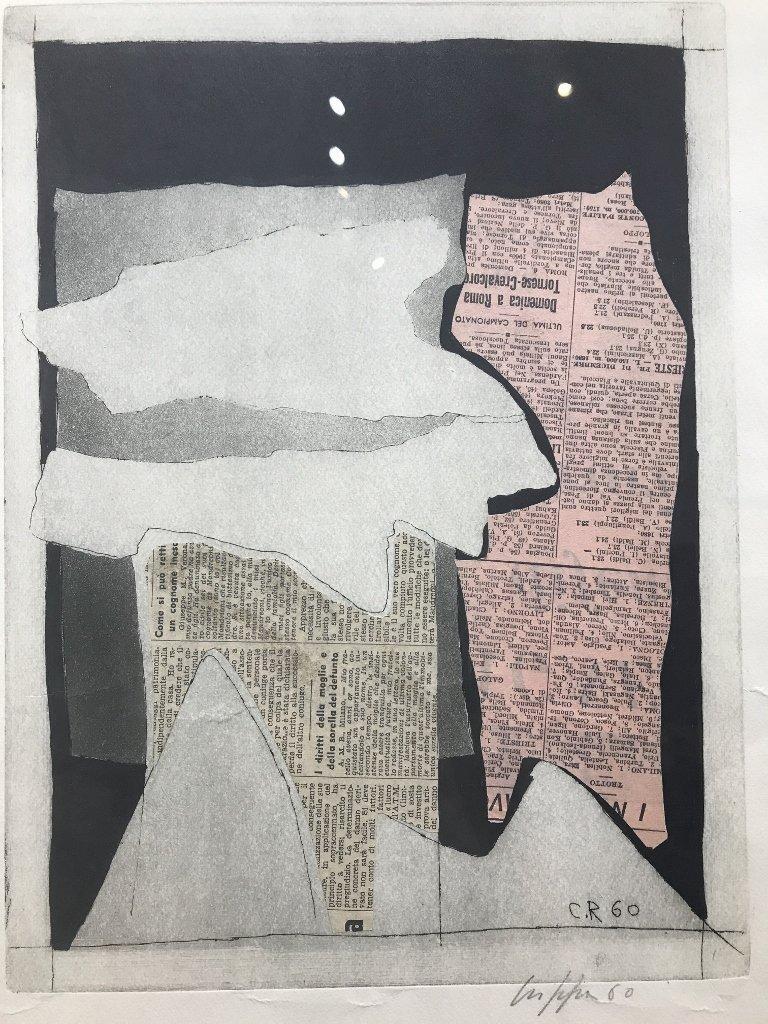 Abstract lithograph by Roberto Crippa, 1960