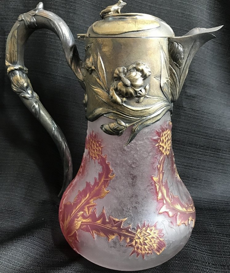 Daum Nancy silver and cameo ewer, c.1900