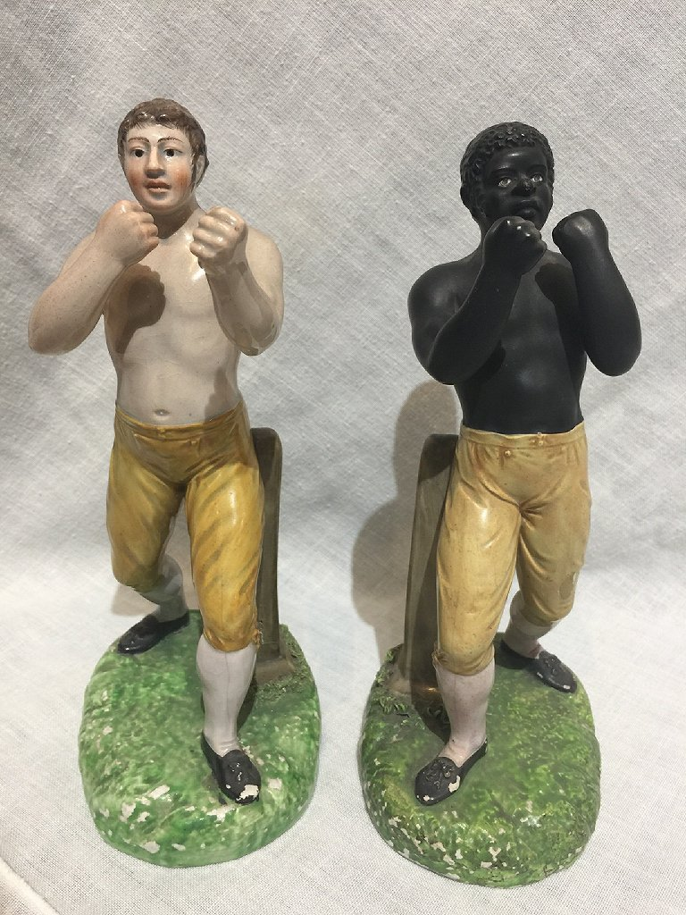 Extremely rare pearlware Tom Cribb vs Tom Molineux 19th