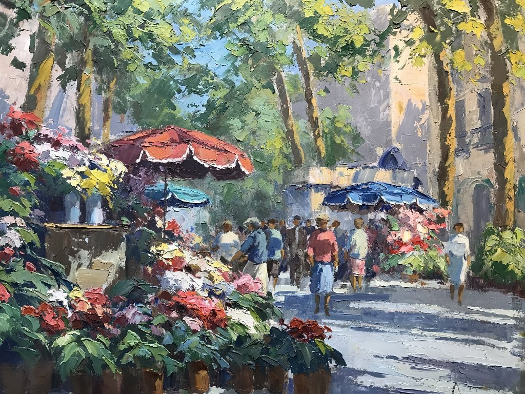 Painting of street florist by Frank Campanella