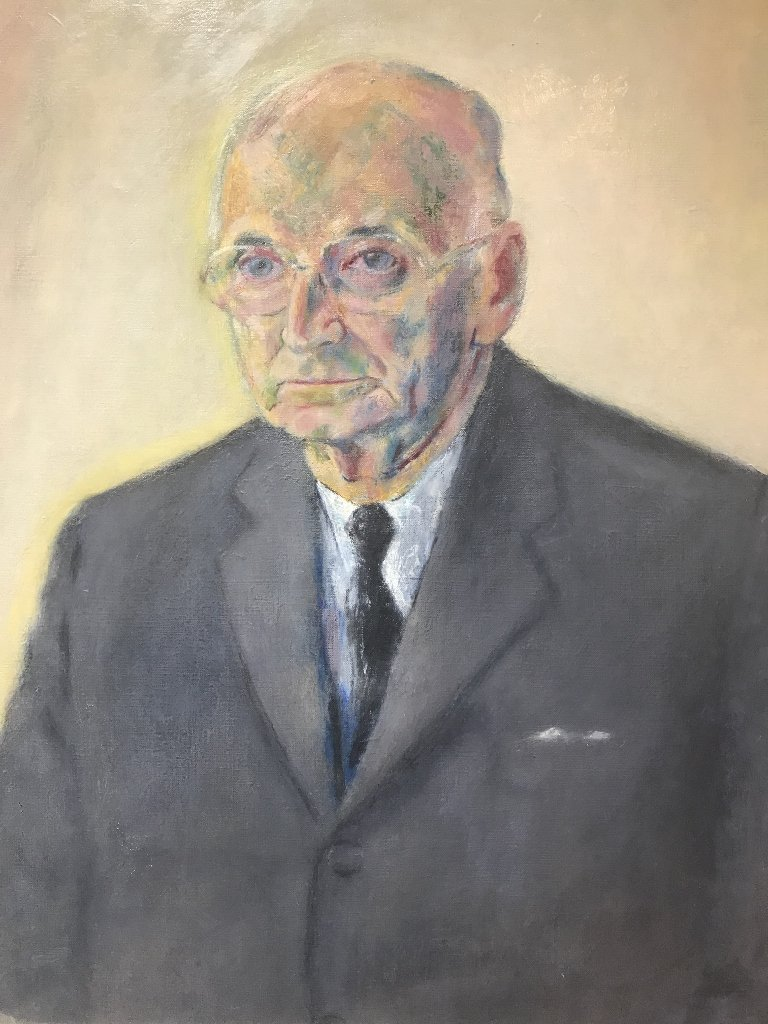 Painting of an elderly man, c.1975.
